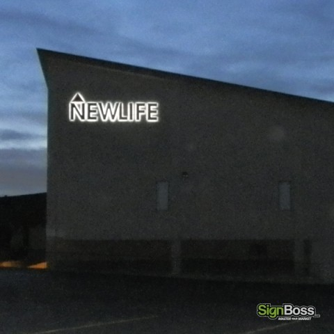 New Life Church – Lit Building Signs